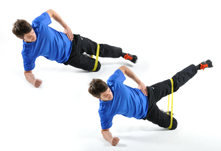 Beinheben im Seitzstütz mit Theraband - eine Übung für Läufer und Spielsportler!
